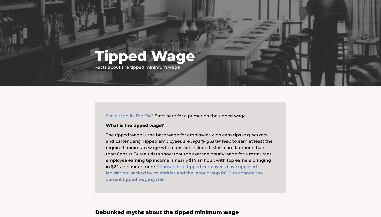 TippedWage.com Screenshot